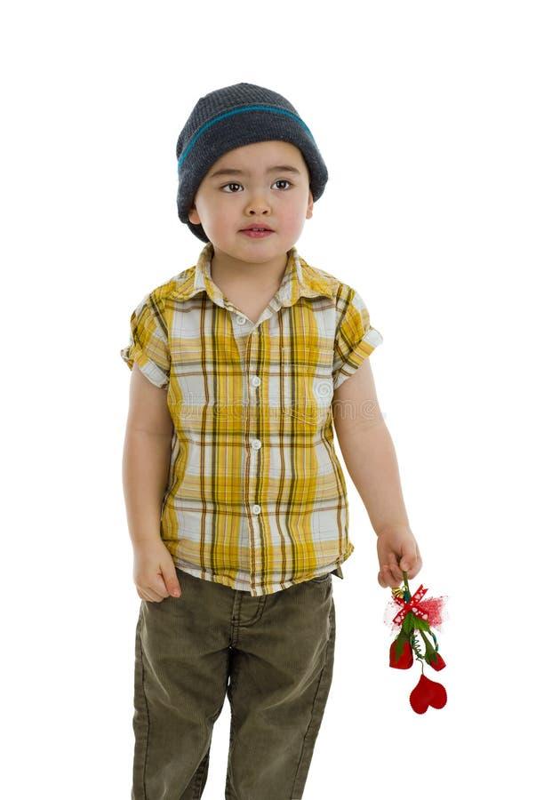 Netter Junge mit Blume und Innergeschenk lizenzfreies stockfoto