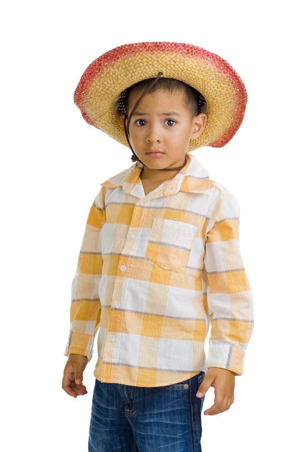 Netter Junge mit Cowboyhut lizenzfreies stockbild