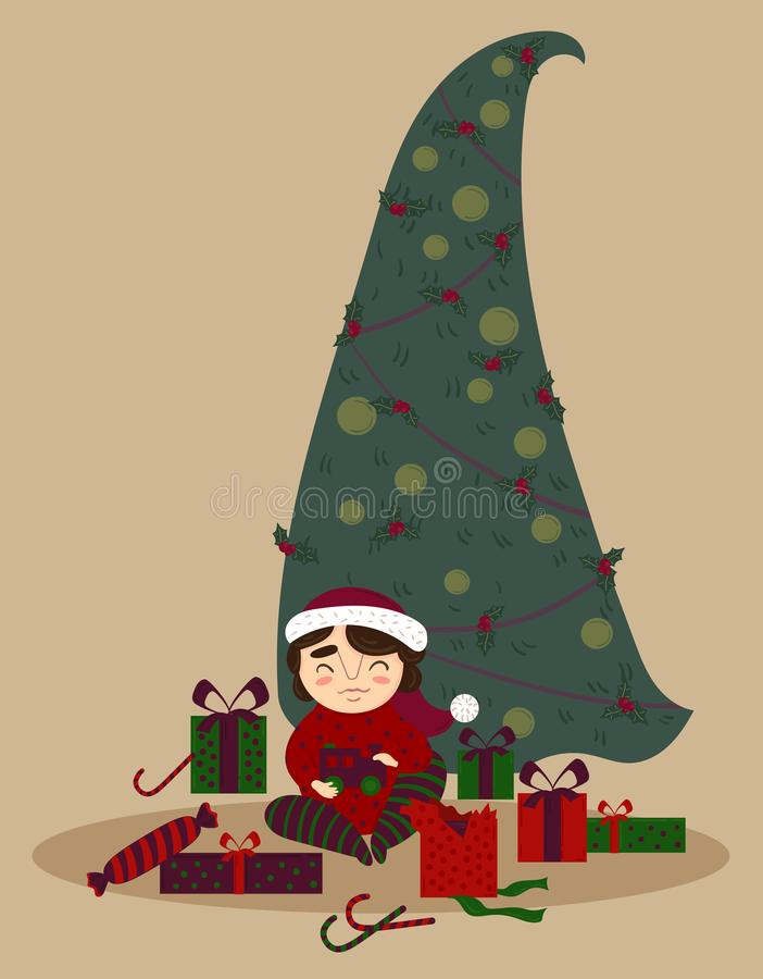 Netter Junge mit Geschenken unter dem Weihnachtsbaum lizenzfreie abbildung