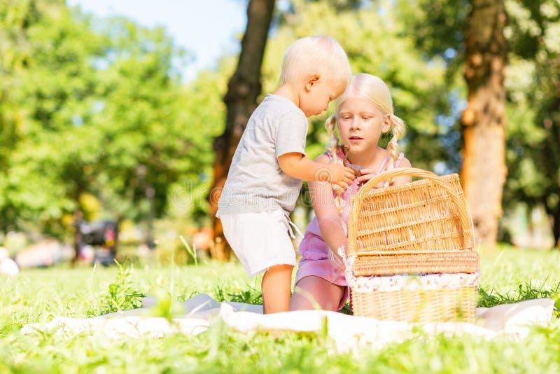 Netter Junge und Mädchen, die etwas vom Korb nimmt stockfotografie
