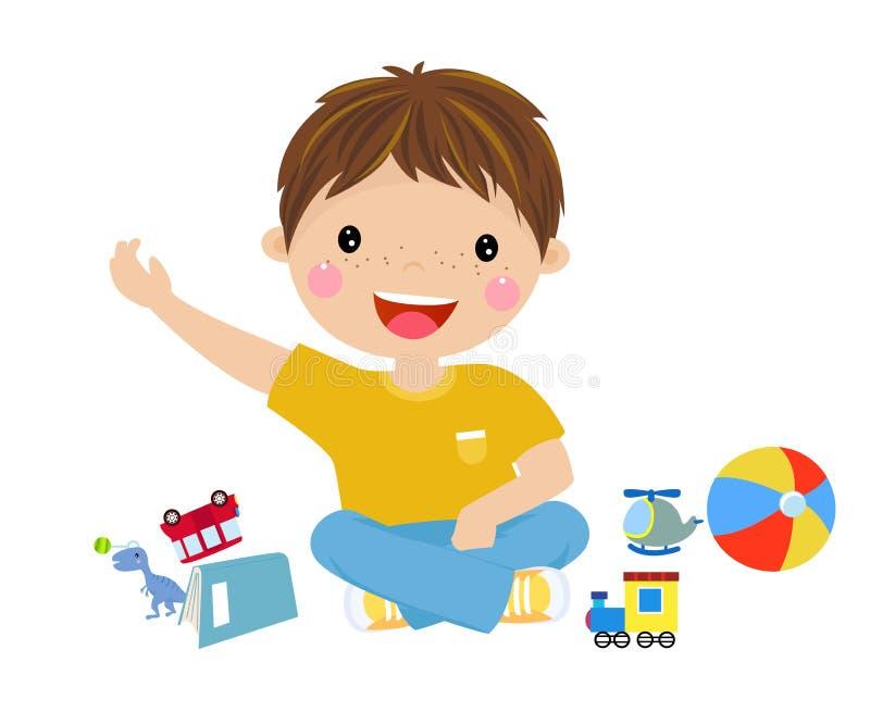 Netter Junge und sein Spielzeug lizenzfreie abbildung