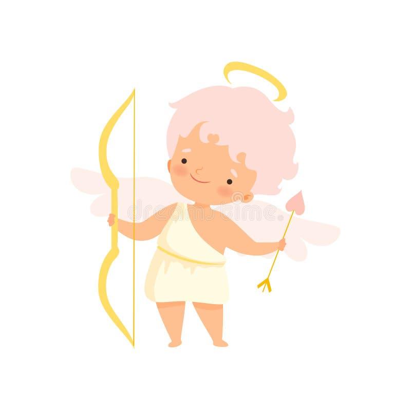 Netter Jungen-Amor mit Nimbus und Flügeln mit Pfeil und Bogen, reizende Baby-Zeichentrickfilm-Figur im Engel oder Engel-Kostüm-Ve vektor abbildung