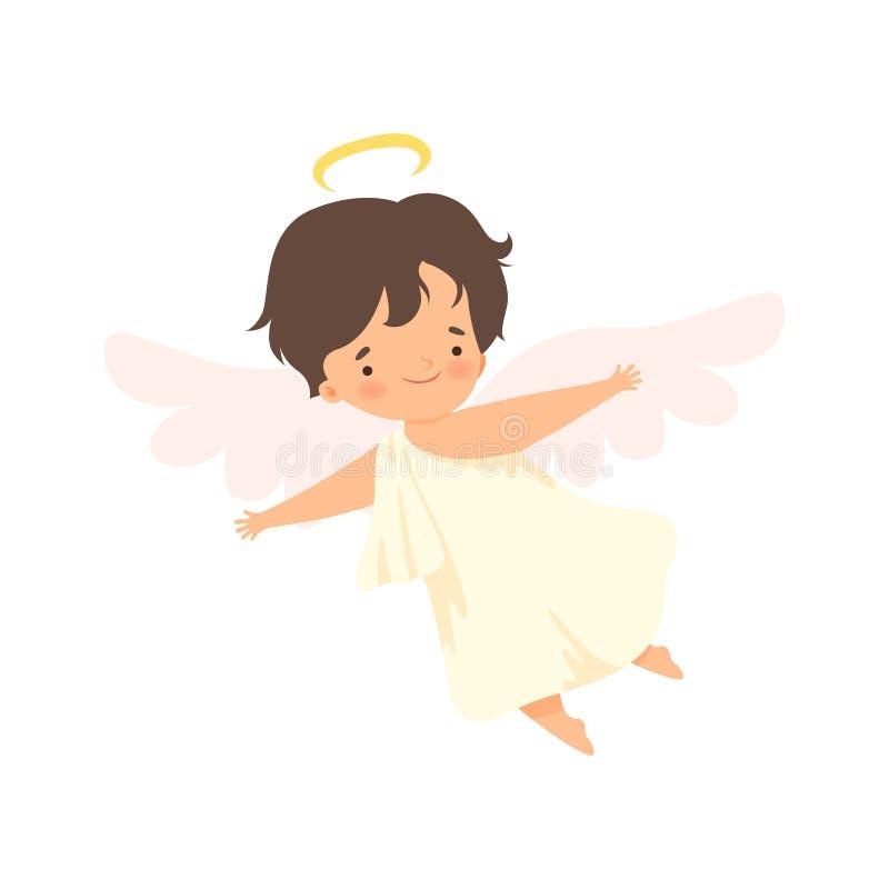 Netter Jungen-Engel mit Nimbus-Fliegen mit Flügeln, reizender Baby-Zeichentrickfilm-Figur im Amor oder Engel-Kostüm-Vektor stock abbildung