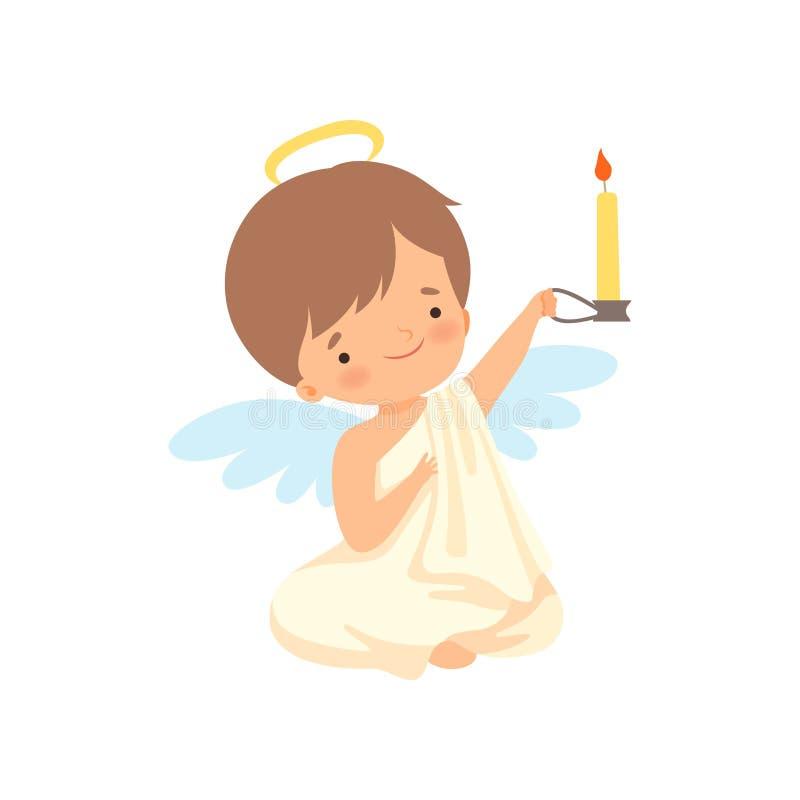 Netter Jungen-Engel mit Nimbus und Flügeln, die brennende Kerze, reizende Baby-Zeichentrickfilm-Figur im Amor sitzen und halten o vektor abbildung