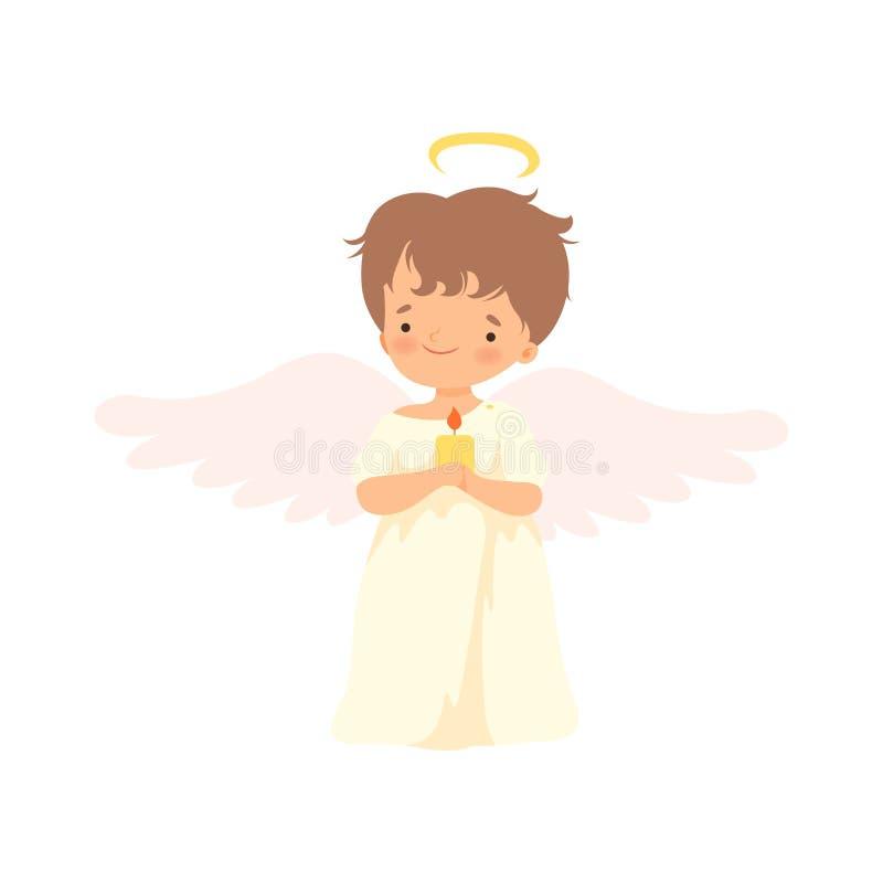 Netter Jungen-Engel mit Nimbus und Flügeln, die mit brennender Kerze stehen, reizende Baby-Zeichentrickfilm-Figur im Amor oder En lizenzfreie abbildung