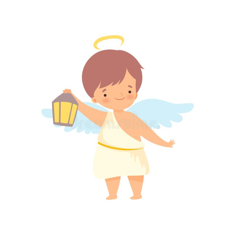 Netter Jungen-Engel mit Nimbus und Flügeln, die mit Laterne, reizender Baby-Zeichentrickfilm-Figur im Amor oder Engel-Kostüm steh stock abbildung