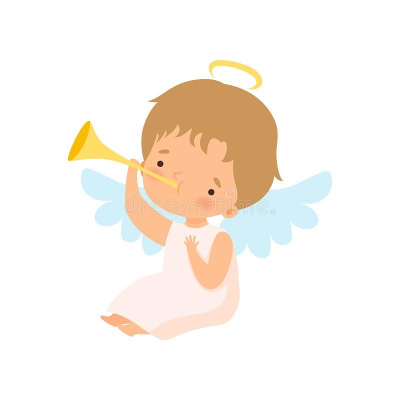 Netter Jungen-Engel mit Nimbus und Flügeln, die Trompete, reizende Baby-Zeichentrickfilm-Figur im Amor oder Engel-Kostüm-Vektor s lizenzfreie abbildung