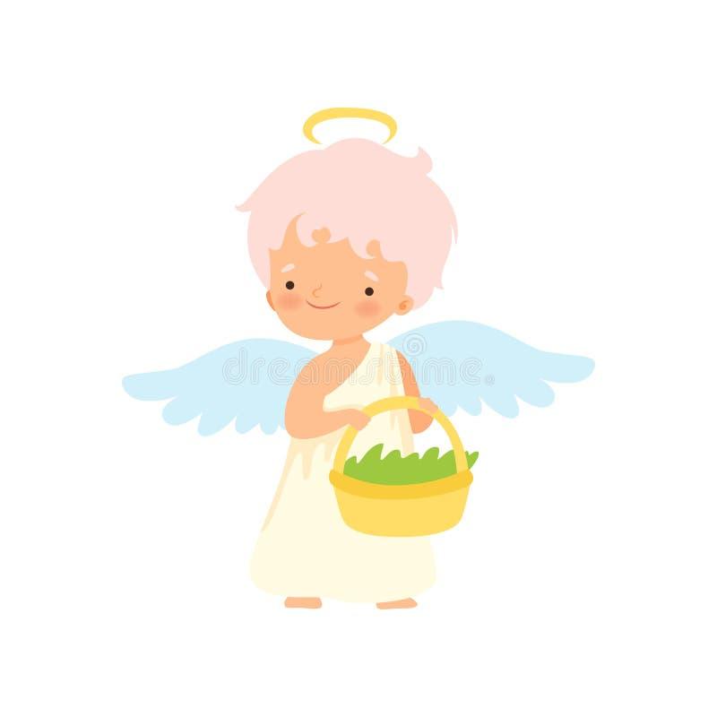 Netter Jungen-Engel mit Nimbus und Flügeln, die Weidenkorb halten, reizende Baby-Zeichentrickfilm-Figur im Amor oder Engel-Kostüm lizenzfreie abbildung