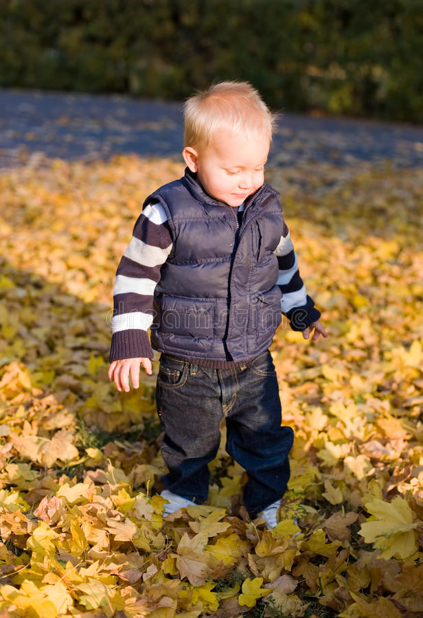 Netter junger Junge draußen in der Natur. lizenzfreies stockbild