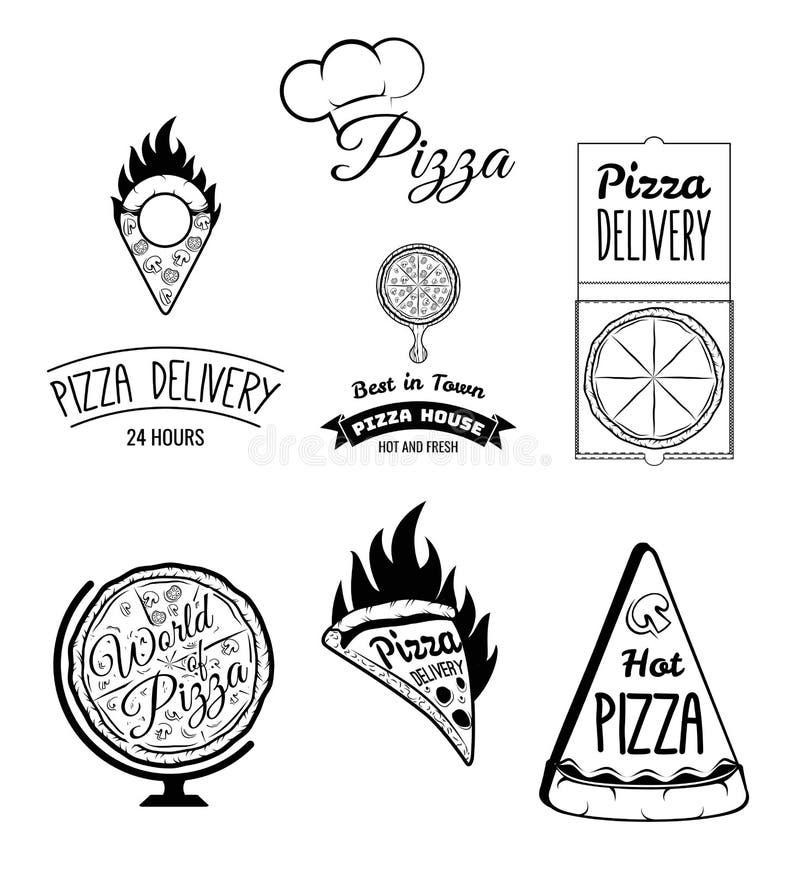 Netter junger Lieferbote, der einen Pizzakasten hält, während Sie auf Weiß lokalisiert werden Das Lebensmittel und der Service Sa lizenzfreie abbildung