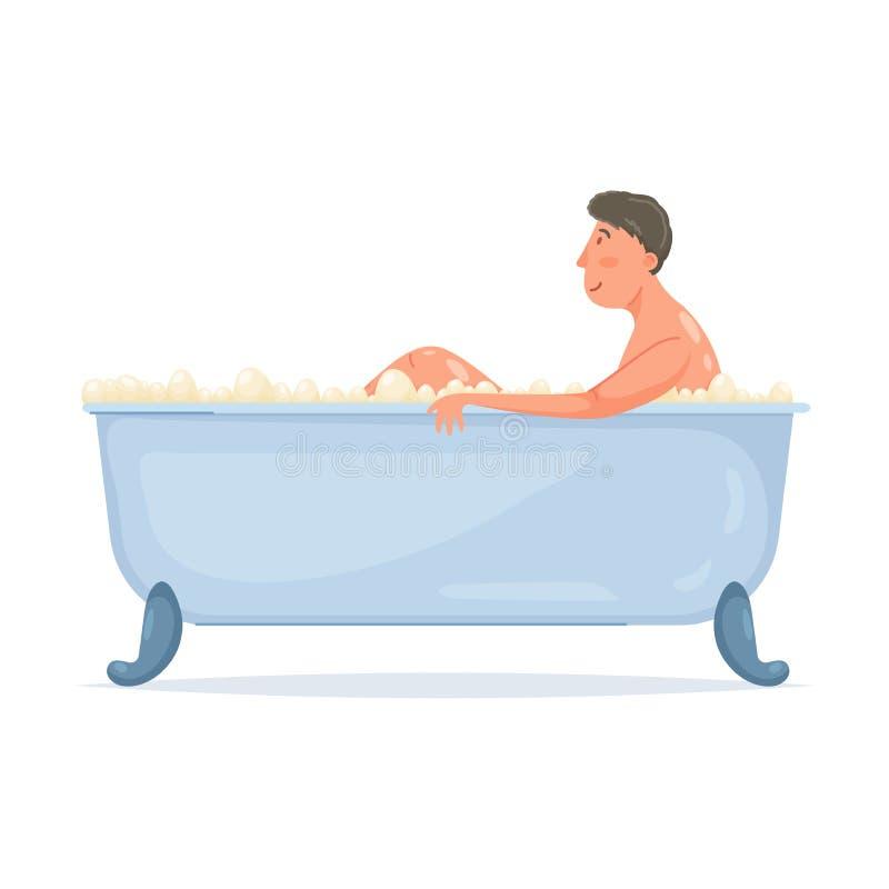Netter junger Mann heißes Bad in der modernen Badewanne nehmen vektor abbildung