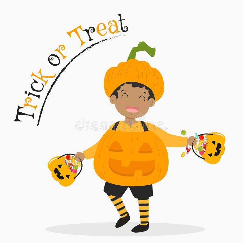 Netter Kürbis-Jungen-tragender Süßigkeits-Eimer, Halloween-Karikatur-Vektor stock abbildung