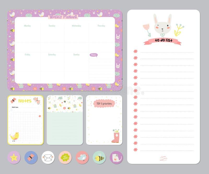 Netter Kalender-täglicher und wöchentlicher Planer vektor abbildung