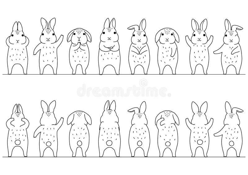 Netter Kaninchengrenzsatz vektor abbildung