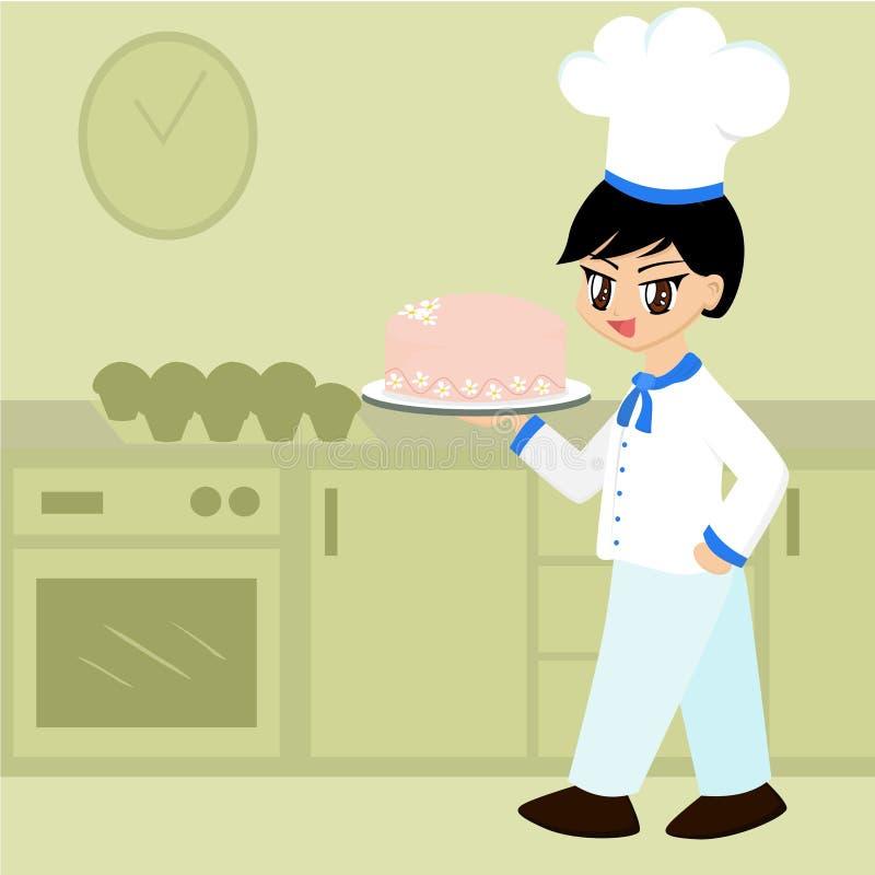 Netter Karikatur-Bäcker-Junge vektor abbildung