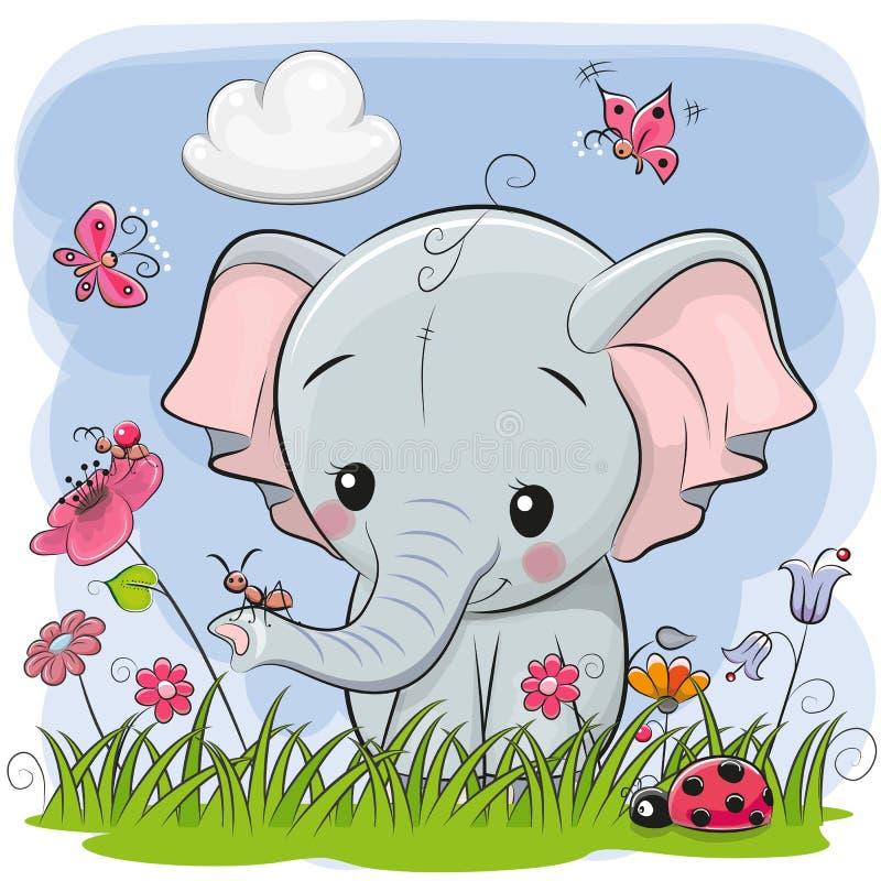 Netter Karikatur-Elefant auf einer Wiese lizenzfreie abbildung