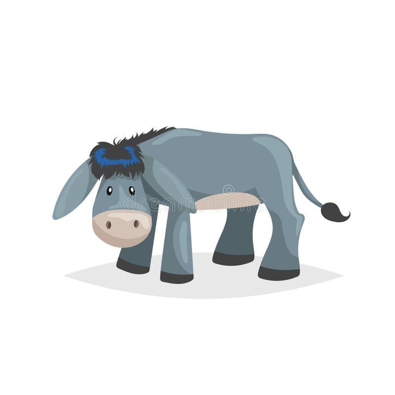 Netter Karikatur-Esel Trauriges inländisches Vieh Vektorillustration für Ausbildung oder komischen Bedarf Blumenhintergrund mit G stock abbildung