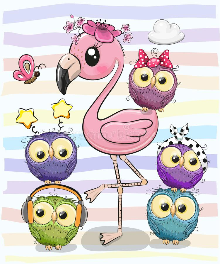 Netter Karikatur-Flamingo und fünf Eulen vektor abbildung