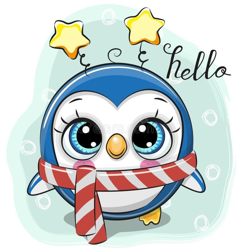 Netter Karikatur-Pinguin in einem Schal auf einem blauen Hintergrund lizenzfreie abbildung