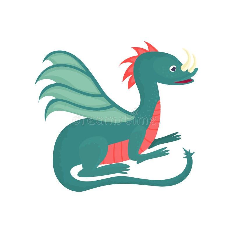Netter Karikaturbaby-Drachecharakter, mythisches Tier, Fantasiereptil-Vektor Illustration lizenzfreie abbildung