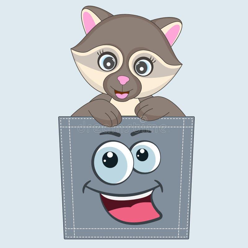 Netter Karikaturbabywaschbär, der in einer Tasche und in einem lächelnden Spaß sitzt lizenzfreie abbildung