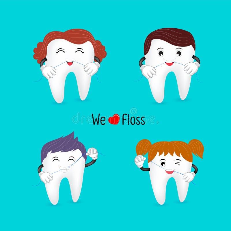 Netter Karikaturfamilien-Zahncharakter unter Verwendung der Zahnseide lizenzfreie abbildung