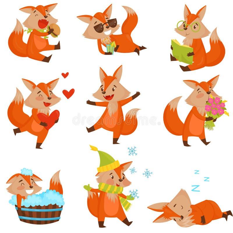 Netter Karikaturfuchszeichensatz, lustige Tiere in den verschiedenen Situationen vector Illustrationen auf einem weißen Hintergru stock abbildung