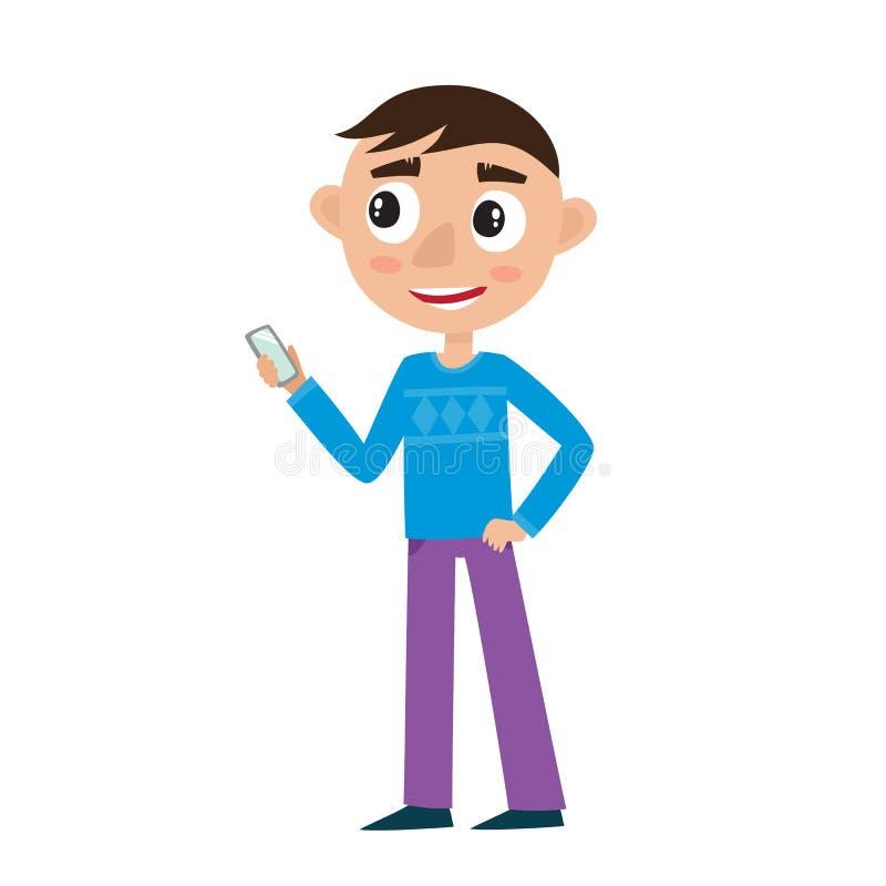 Netter KarikaturGeschäftsmann mit dem Telefon lokalisiert auf Weiß stock abbildung