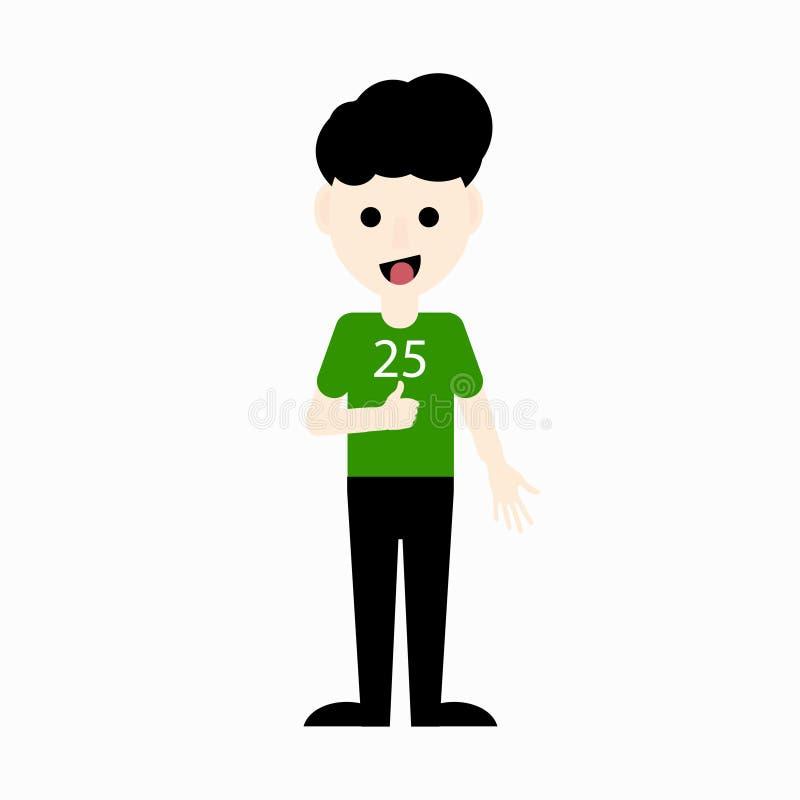 Netter Karikaturjunge in einem OKAYzeichen grüne Farbet-shirt Vertretung Auch im corel abgehobenen Betrag lizenzfreie abbildung