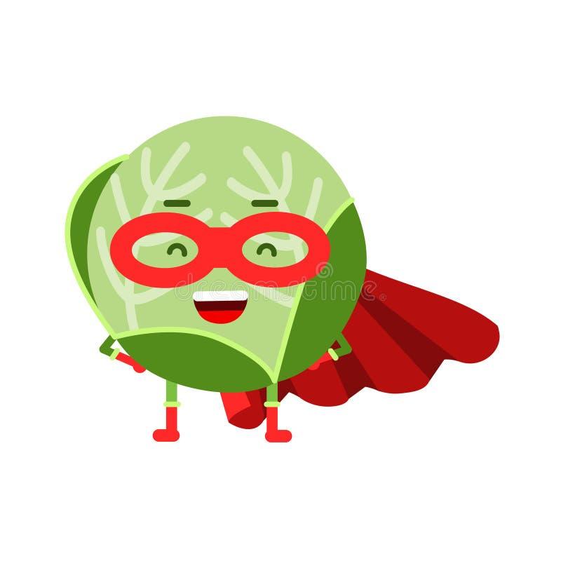 Netter Karikaturkohlsuperheld in der Maske und im roten Kap, bunte humanisierte Gemüsecharakter Illustration lizenzfreie abbildung