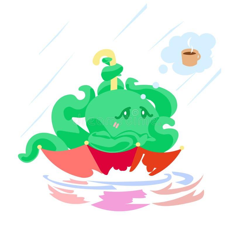 Netter Karikaturkrakencharakter im Regenschirm unter Regen träumend über warmes und Kaffee stock abbildung