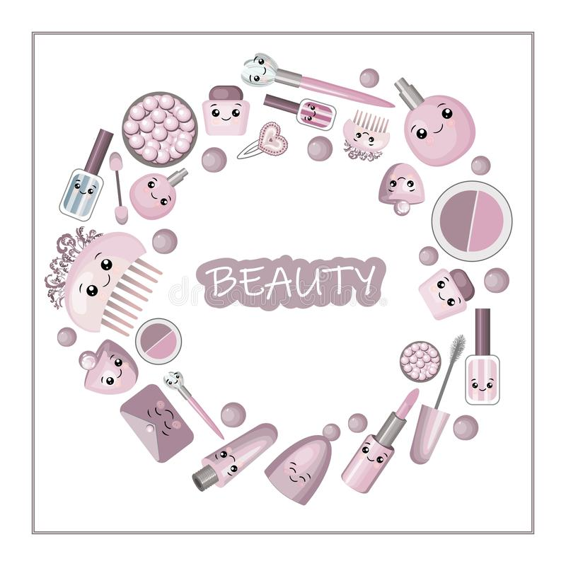 Netter Karikaturrahmen mit kawaii kleinem Mädchen und Kosmetik, Modesachen - Lippenstift, rosa Kristall, Wimperntusche, Spiegel,  vektor abbildung
