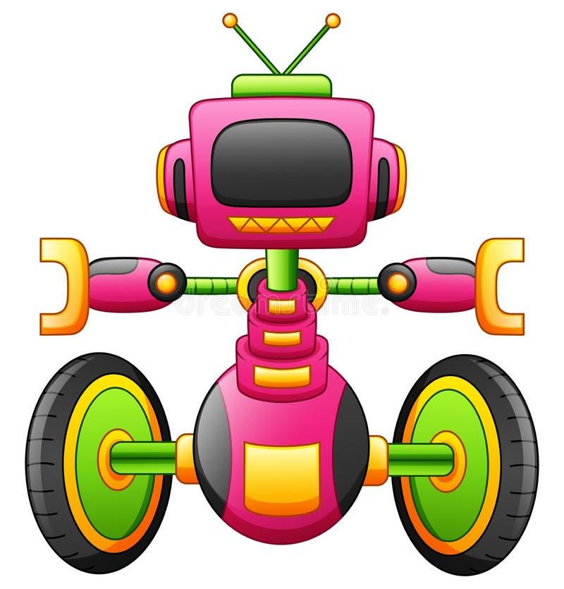 Netter Karikaturrobotercharakter mit dem Zweirad lokalisiert auf weißem Hintergrund stock abbildung