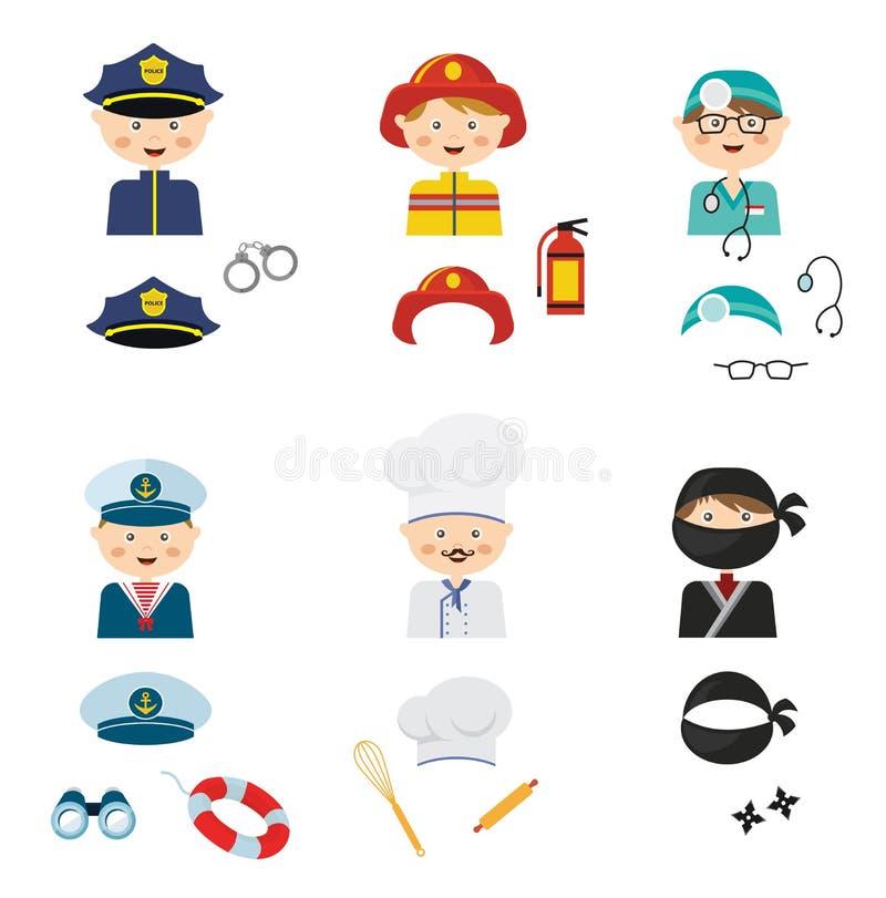 netter Karikatursatz kostümierte Kinder mit verschiedenen Berufen lizenzfreie abbildung