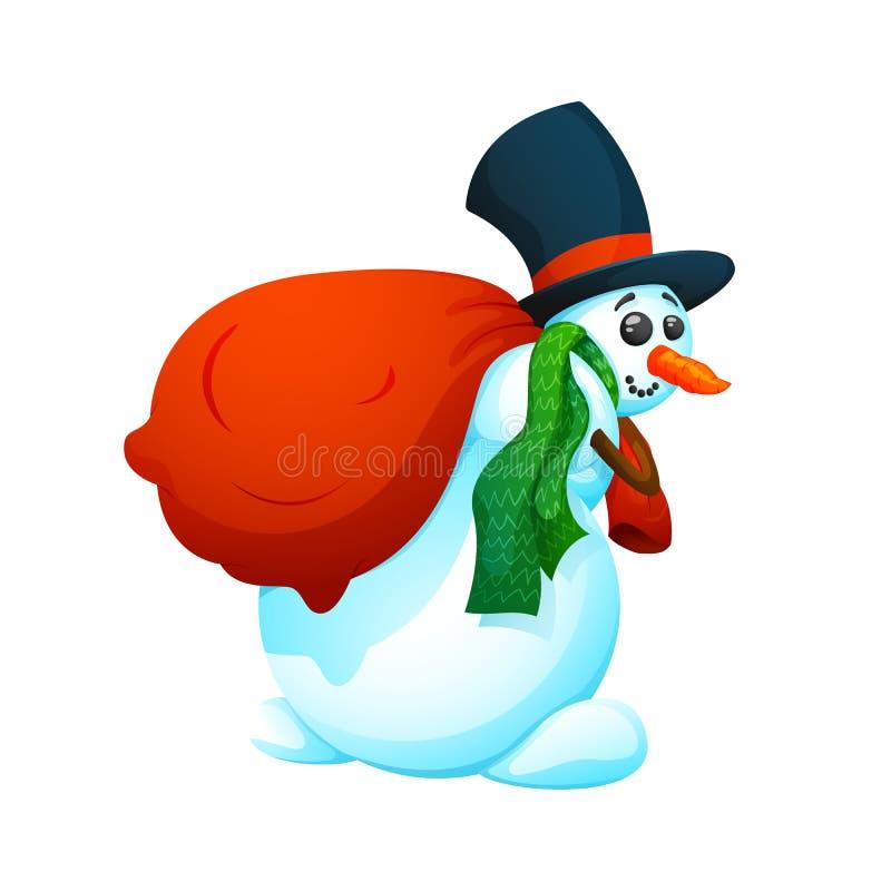 Netter, Karikaturschneemann in einem Hut und mit einer Tasche von Geschenken stockfoto
