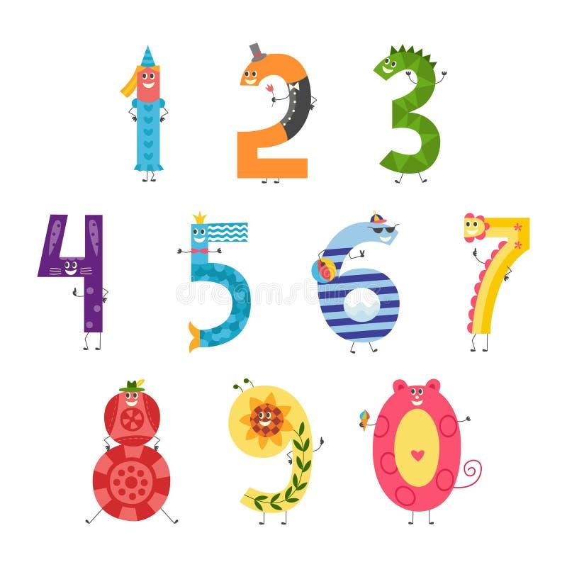 Netter Karikaturzahlsatz für unterrichtende Kinder oder Geburtstagseinladung - lustige Charaktere lokalisiert auf weißem Hintergr vektor abbildung