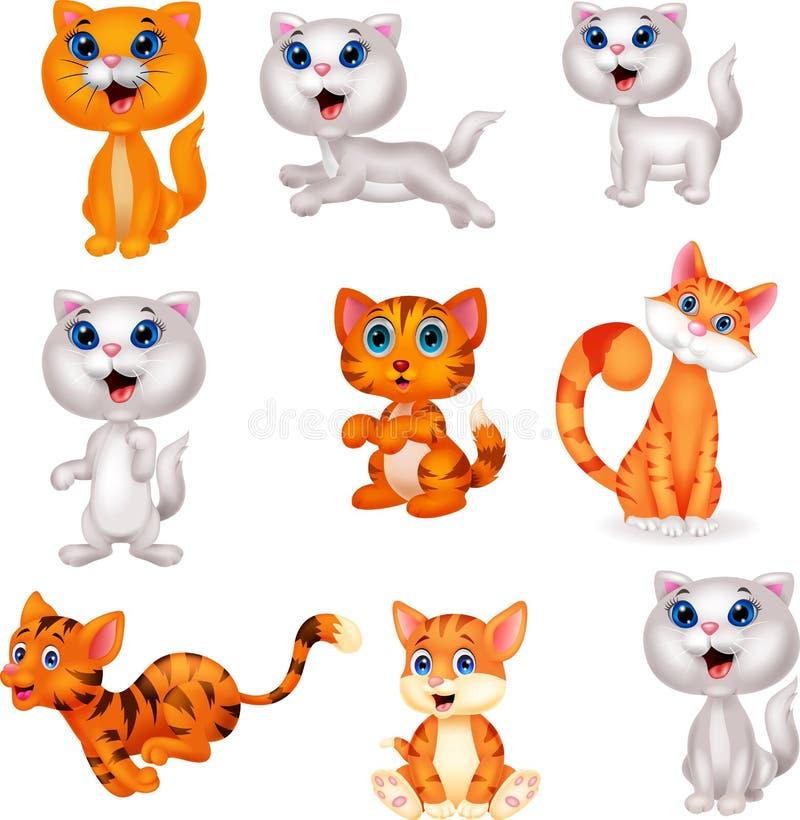 Netter Katzenkarikatur-Sammlungssatz lizenzfreie abbildung