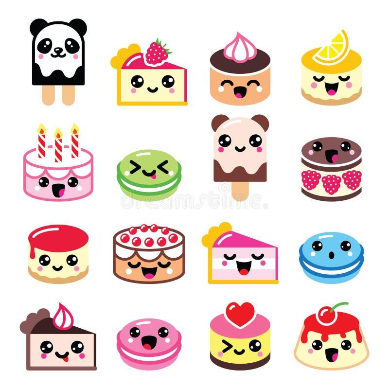 Netter Kawaii-Nachtisch - Kuchen, Makrone, Eiscremeikonen lizenzfreie abbildung