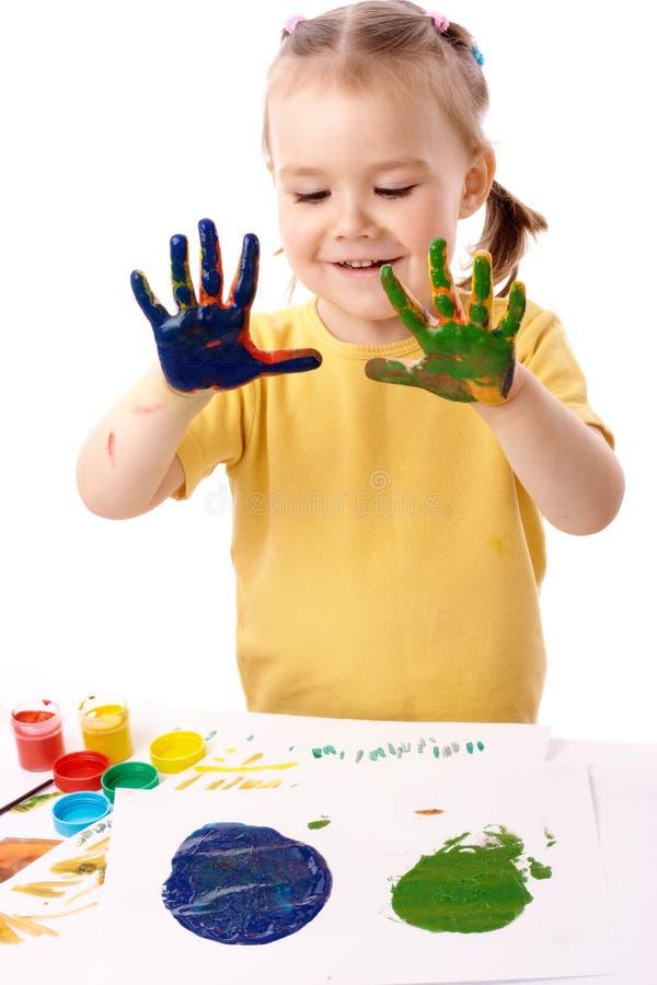 Netter Kindlack unter Verwendung der Hände lizenzfreies stockfoto