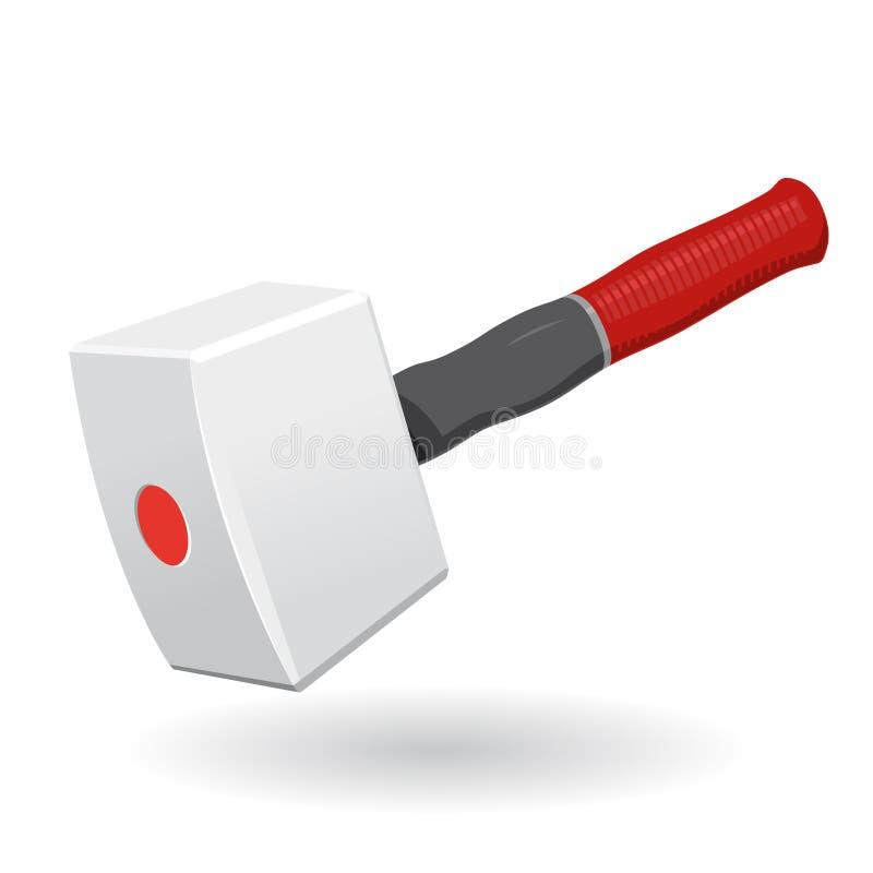 Netter klassischer großer weißer Tischler Mallet mit rotem grauem Griff ANG auf Weiß vektor abbildung