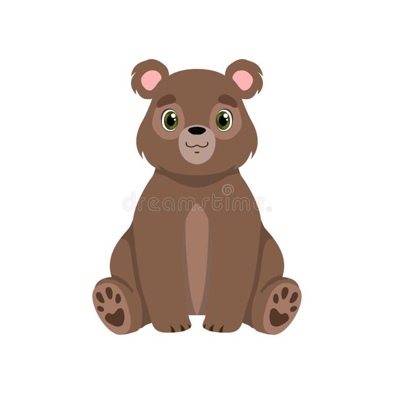 Netter kleiner Bär, reizende TierVorderansicht-Vektor Illustration der Zeichentrickfilm-Figur stock abbildung