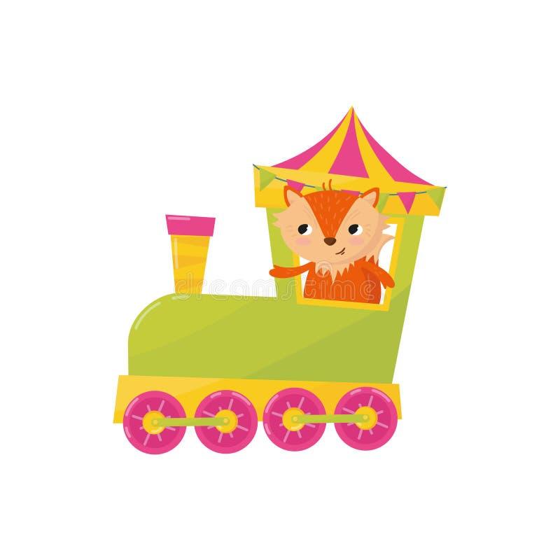 Netter kleiner Fuchs, der mit dem Zug reist Karikatur-Tier-Charakter Dekoratives Element für Postkarte, Plakat des Spielzeugslade stock abbildung