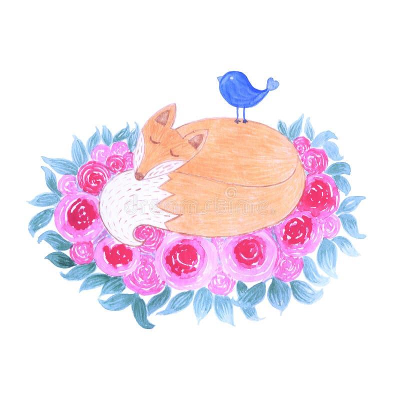 Netter kleiner Fuchs des Aquarells, der im Wald umgeben durch Blumen und Blätter schläft vektor abbildung