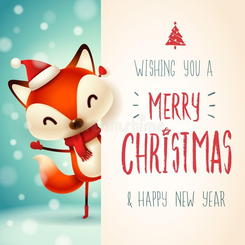 Netter kleiner Fuchs mit großem Schild Kalligraphie-Briefgestaltung der frohen Weihnachten stock abbildung