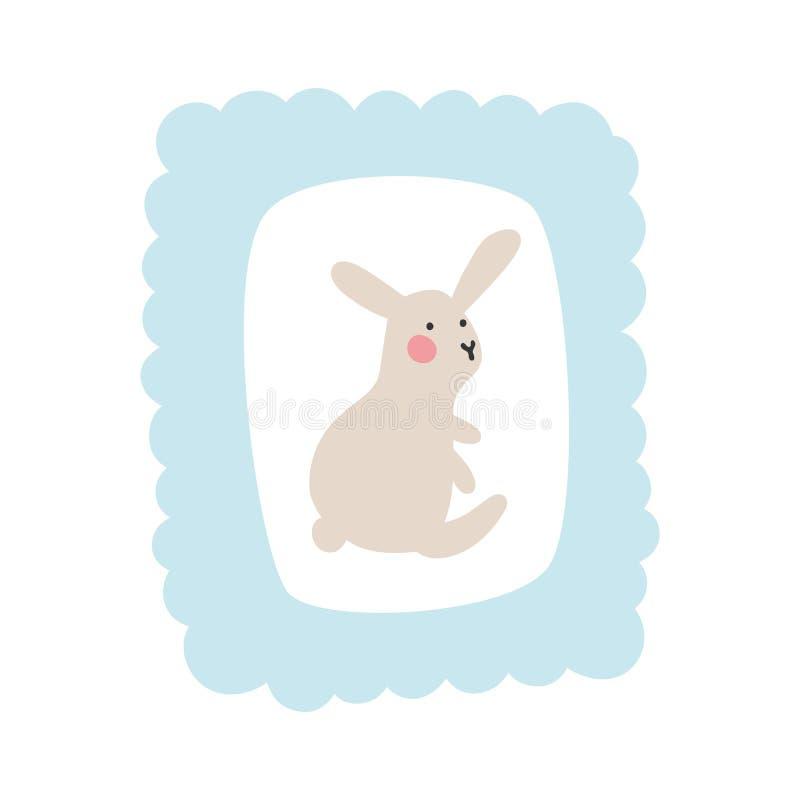 Netter kleiner Hase sitzt in einem weichen blauen Rahmen einer Wolke vektor abbildung