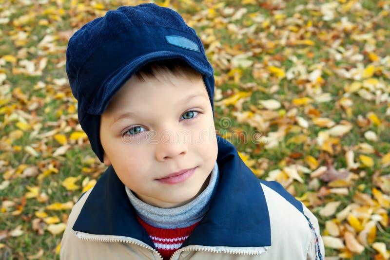 Netter kleiner Junge auf Herbsthintergrund stockfotografie