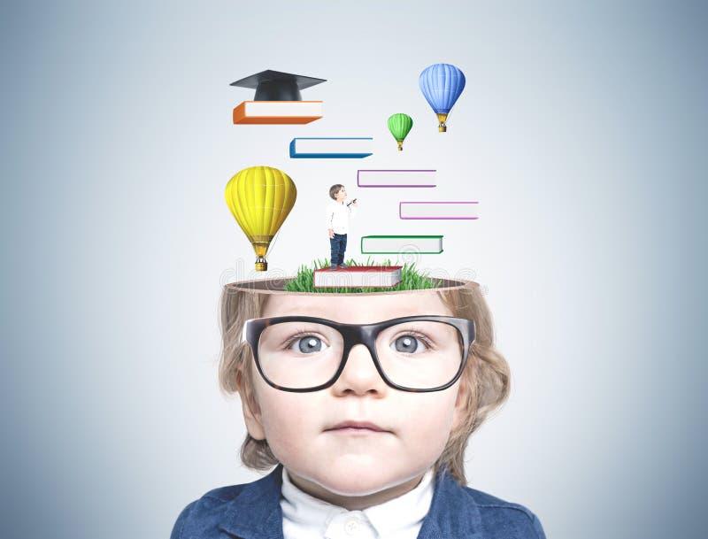 Netter kleiner Junge in den Gläsern, Bildung vektor abbildung