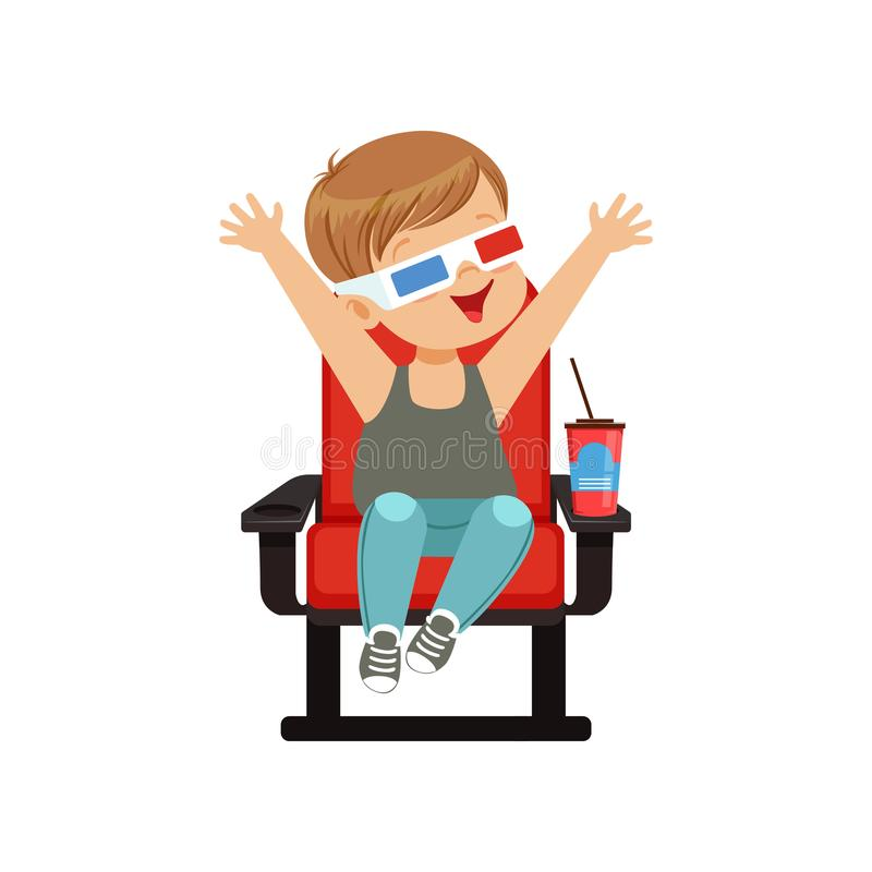 Netter kleiner Junge in den Gläsern 3d, die auf einem roten Stuhl, einem trinkenden Soda und einem aufpassenden Film 3D im Kinove lizenzfreie abbildung