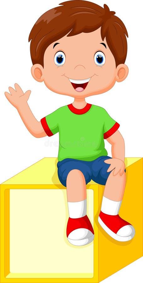 Netter kleiner Junge, der auf einem Würfel sitzt vektor abbildung