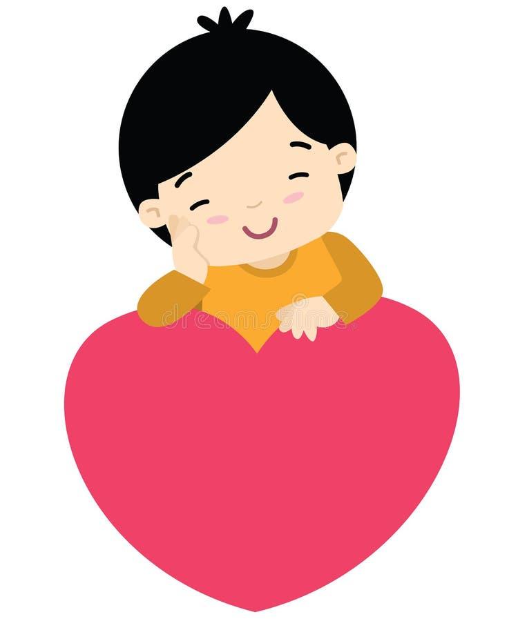 Netter kleiner Junge, der an einem Herzvalentinsgrußtag sich lehnt stock abbildung